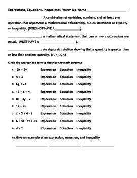 Expression, Equations, Inequalities Unit