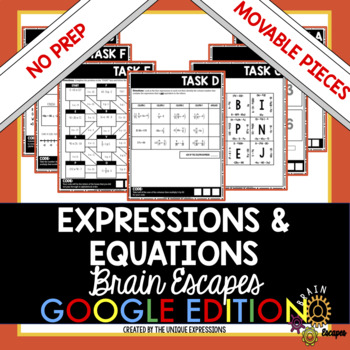Expression & Equations Review Digital Escape Room Activity