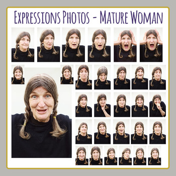 Expression Photo Series - Mature Woman - Clip Art for Commercial Use