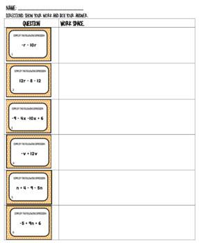 Simplifying Expressions Practice Worksheet Bundle
