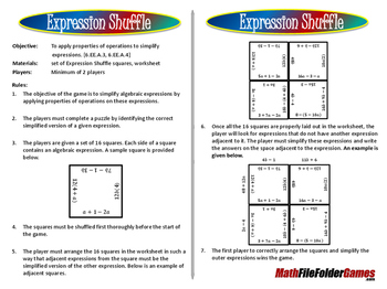 Expression Shuffle Puzzle/Game (Simplify Expressions)