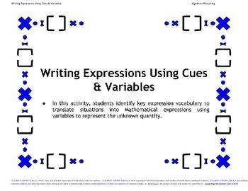 Algebra Expression Writing