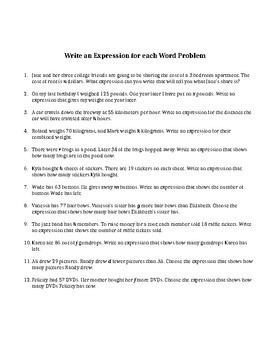 Expression and Equation Word Problems