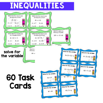 Variable Expression and Inequalities *BUNDLE* Task Card Pack