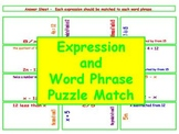 Writing Equations & Word Phrase Puzzle Match