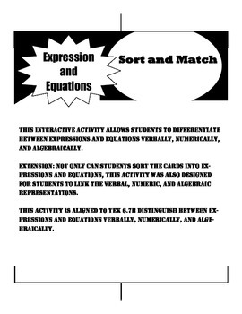 Expression or Equation Sort and Match