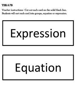 Expressions versus Equations Sorting Activity