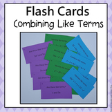 Combining Like Terms Flash Cards  6.EE.3