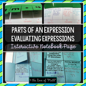 Parts of an Expression and Evaluating Expressions Interactive Notebook Pages