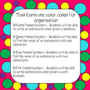 Expressions 32 Task Cards and 5 Worksheets Grades 3 -5
