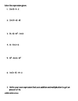 Solve Expressions Math Practice