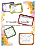 Expressions Activity Bundle:  Combine Like Terms, Factor, Distributive Property
