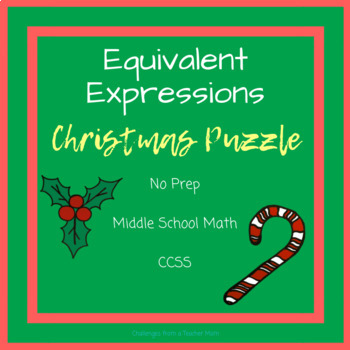Expressions + Equations   Cut + Paste Christmas Puzzle