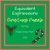 Expressions + Equations | Cut + Paste Christmas Puzzle | Middle School Math