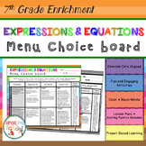 7th Grade Expressions & Equations Choice Board – Enrichment Math Menu