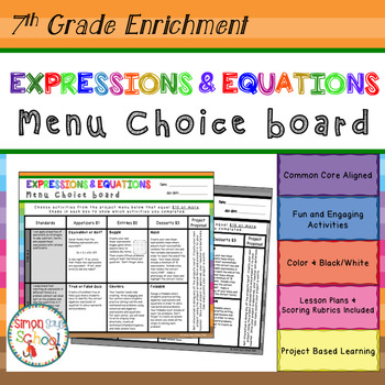 Expressions And Equations Project Teaching Resources Teachers Pay