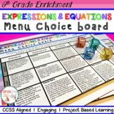 6th Grade Expressions & Equations Choice Board – Enrichment Math Menu