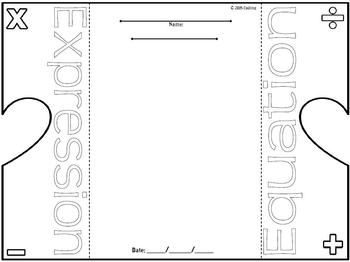 Expressions & Equations Foldable Graphic Organzier