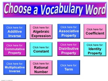 Expressions & Equations Frayer Model Vocabulary (Vocab. they will LIKE and USE)