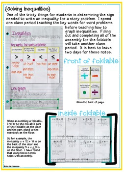 Expressions & Equations Interactive Notebook