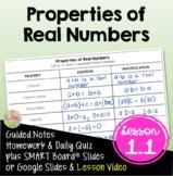 Properties of Real Numbers (Algebra 2 - Unit 1)