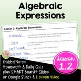 Algebraic Expressions (Algebra 2 - Unit 1)