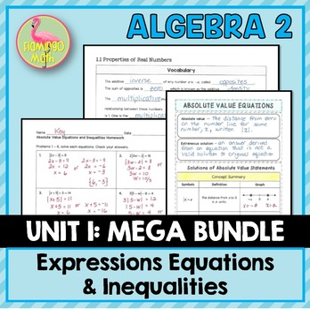 Expressions Equations Inequalities MEGA Bundle (Algebra 2 - Unit 1)