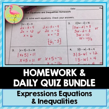 Algebra 2: Expressions Equations & Inequalities Homework Bundle