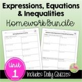 Expressions Equations Inequalities Homework (Algebra 2 - Unit 1)