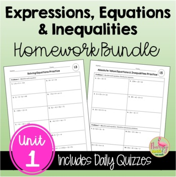 Algebra 2: Expressions Equations & Inequalities Homework Bundle