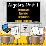 Expressions, Equations, Inequalities, Literal Equations |