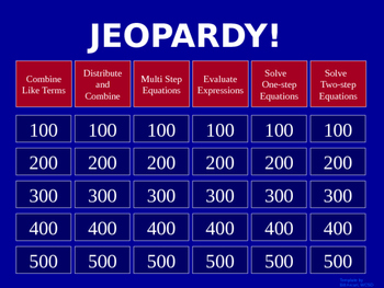 Expressions/Equations Jeopardy