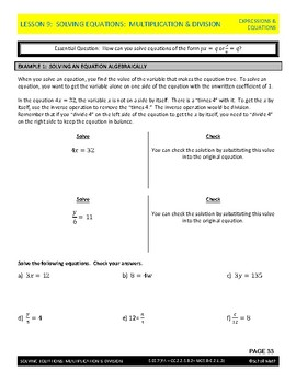 Expressions & Equations Lesson - Solving Equations (Multiplication and Division)