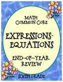 Expressions & Equations Math Common Core Year End Review S
