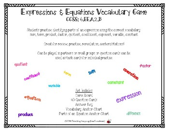 Expressions & Equations Mathematical Terms Game CCSS: 6.EE.A.2.B