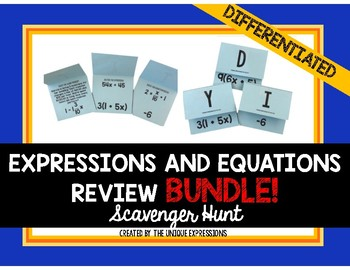 Expressions & Equations Scavenger Hunt Review