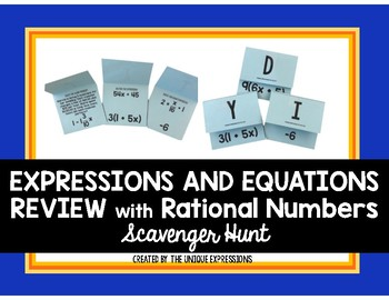 Expressions & Equations Scavenger Hunt Review (Rational Numbers)