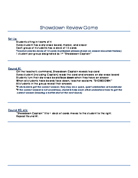 Expressions & Equations Showdown Review Game