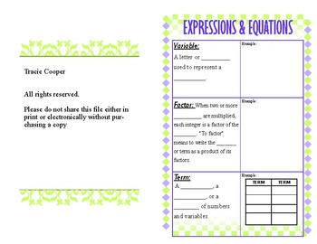 Expressions & Equations Vocabulary Foldable 7th Grade CCSS