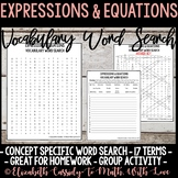 Math Vocabulary Word Search - Expressions & Equations