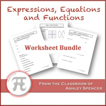 Expressions, Equations, and Functions Worksheet Bundle