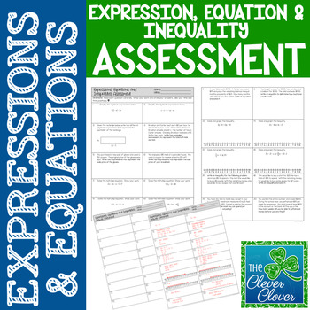 Expressions, Equations and Inequalities Assessment