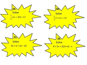 Expressions, Equations, and Inequalities Task Cards