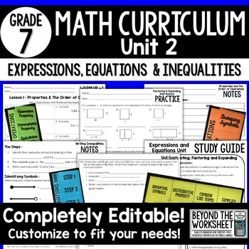 Expressions Equations And Inequalities Unit 7th Grade Math By
