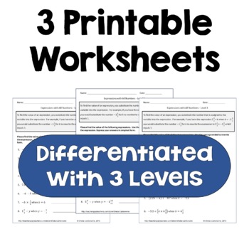 Algebraic Expressions with All Numbers Worksheets (Differentiated)