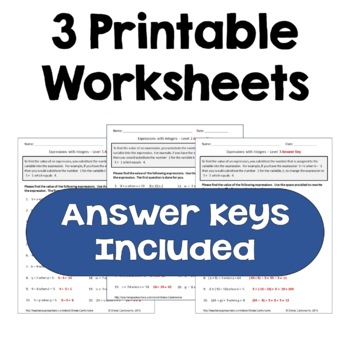Find the Value of the Expression with Integers Worksheets (3 Levels)