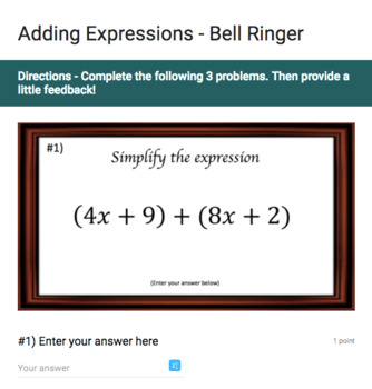 Expressions – Google Bell Ringer Bundle with Student Feedback Option