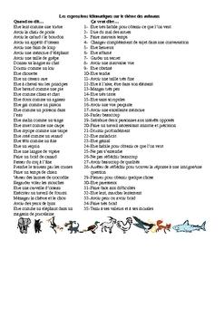 Expressions Idiomatiques sur le theme des animaux