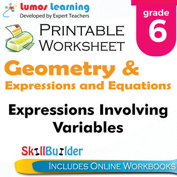 Expressions Involving Variables Printable Worksheet, Grade 6