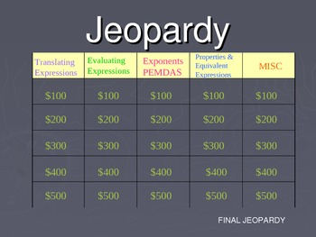Expressions Jeopardy